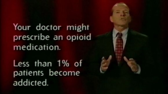 "An aged Ad reading:  ""Your doctor might prescribe an opioid medication. Less than 1% of patients become addicted."""