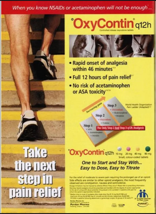 "A poster advertising Oxycontin as ""the next step in pain relief"" to Canadian markets."